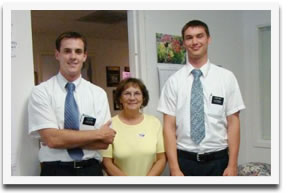 Missionaries from the Church of Latter Day Saints perform community service at Dixon Family Services.